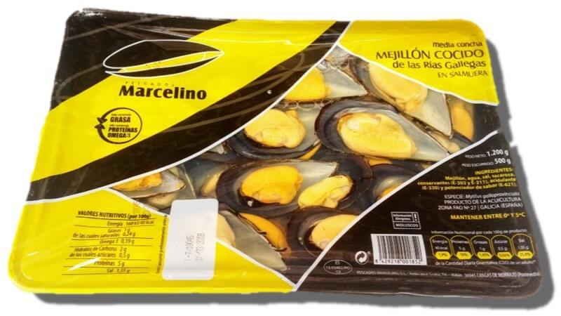 Mejillones Cocidos con Concha, 500gr escurrido -Marcelino