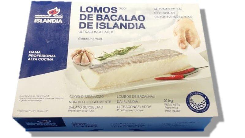 Bacalao Lomos Sin Espinas gadus morhua-Congelado -Caja 2 kg abierta Aprox 4-6 und sin sal
