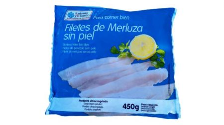 merluza filetes sin piel cd 450 gr